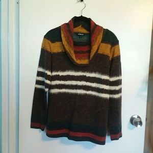 Horryzin Striped Cowl Neck Sweater